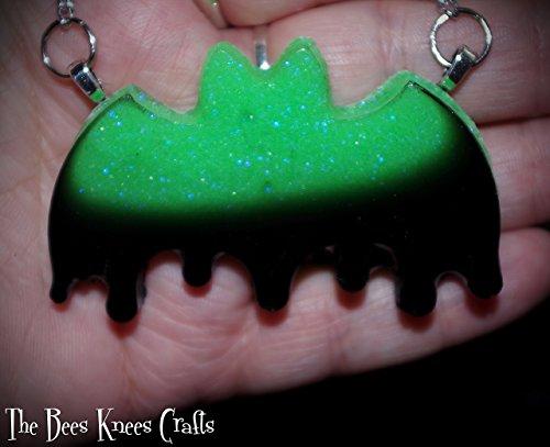 Pastel Goth Glow Green/Black Drippy Bat Hand Made Necklace