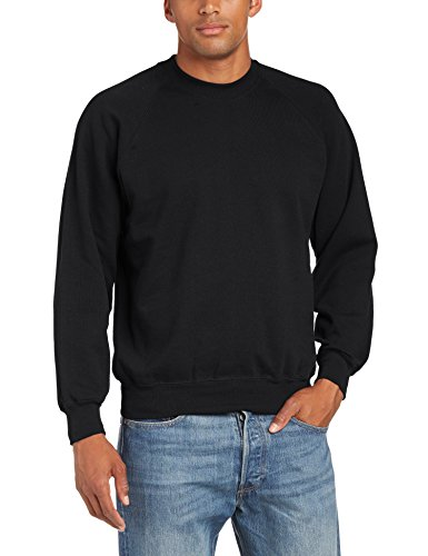 Fruit of the Loom Men's Classic Set-In Sweat Crew Neck Sweatshirt, Black, Large