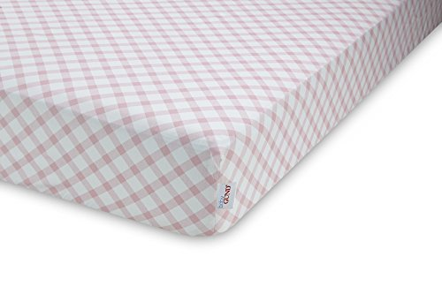 GUND Babygund Picnic Plaid Deluxe 300 Thread Count Crib Sheet, Picnic Plaid - Popsicle Pink, 28'' By 52''