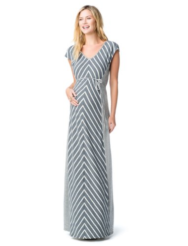Jessica Simpson Cap Sleeve Tie Detail Maternity Maxi Dress