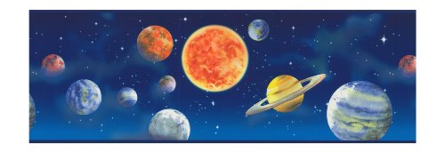 York Wallcoverings Just Kids LK1620B Galaxy Border, Blue (York Space Border compare prices)