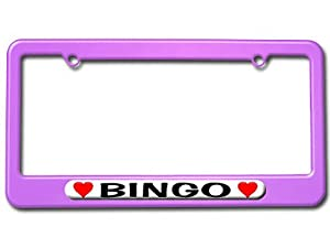 Bingo Love with Hearts License Plate Tag Frame - Color Purple