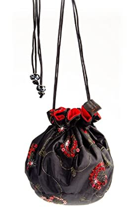 abendbeutel handbeutel clutch bag schwarz rote pailletten. Black Bedroom Furniture Sets. Home Design Ideas