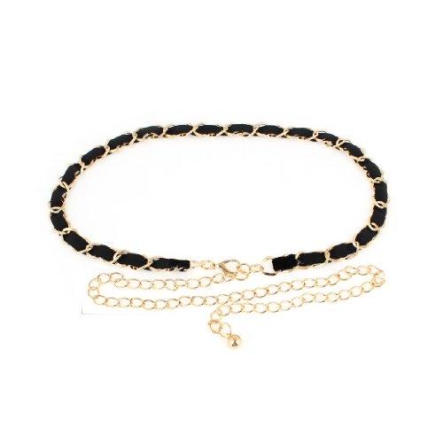 Women Gold Tone Metal Rhombus Chains Slim Waistband Cinch Belt