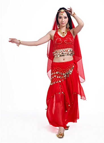 Dreamspell Womens red 5PCS dancing suit, indian style belly dance costumes