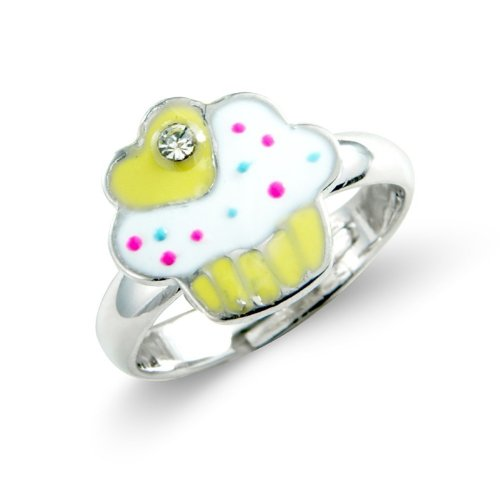 Yellow Children's Cup Cake Ring - Childrens Adjustable Ring - Matching necklace and earrings available - will arrive in gift bag