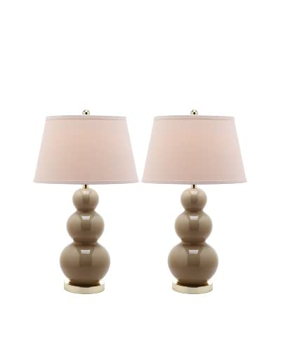 Safavieh Set of 2 Pamela Triple Gourd Ceramic Lamps