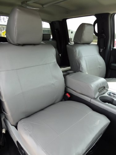 Exact Seat Covers, F367 L7, 2004-2008 Ford F150 XLT Super Crew and Lincoln Mark LT Front Bucket Seats Custom Exact Fit Seat Covers, Silver Vinyl Leatherette