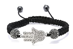 Authentic Gray Color Crystals Hamsa Hand Adjustable Bracelet, Now At Our Lowest Price Ever but Only for a Limited Time!