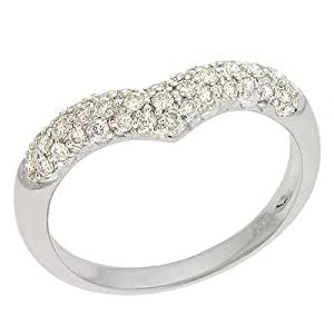 14k White Trendy Pave 0.34 Ct Diamond Ring - Size 7.0 - JewelryWeb