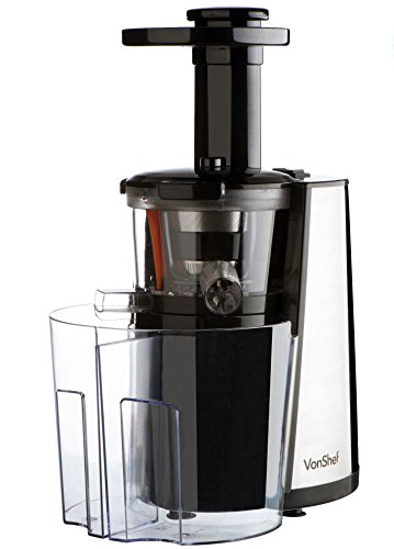vonShef 150W Slow Masticating Single Auger Juicer Extractor - Yields more Juice & is Easy Clean ...