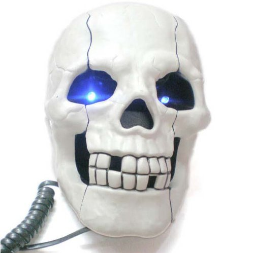 Generic Fearful Head Skull Shaped Corded Telephone With Flash Led Eyes image