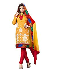 FadAttire Self Designed Chandheri Suit with Printed Dupatta-Yellow-FARA07