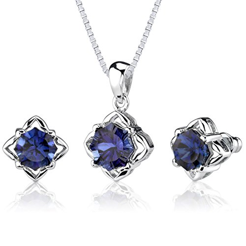 Created Sapphire Pendant Earrings Set Sterling Silver 10.25 Carats Snowflake Shape