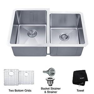 Kraus 32 inch Undermount 50/50 Double Bowl 16 gauge Stainless Steel Kitchen Sink