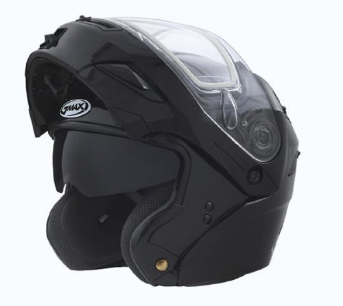 Small Gmax Gm54S Gloss Black Modular Snowmobile Helmet With Electric Shield