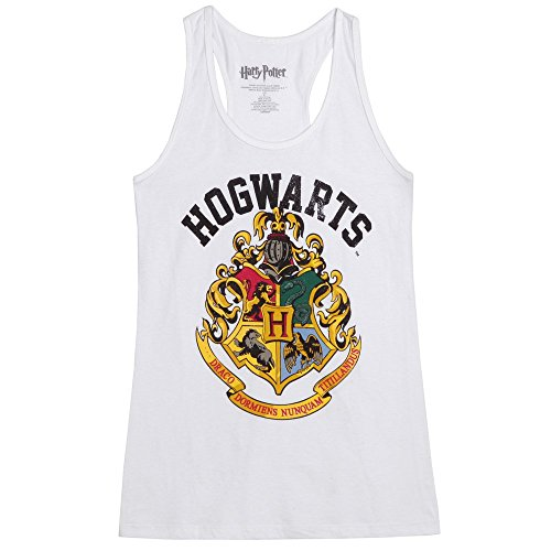 Harry Potter Distressed Hogwarts Crest Juniors Tank Top - White (Medium)