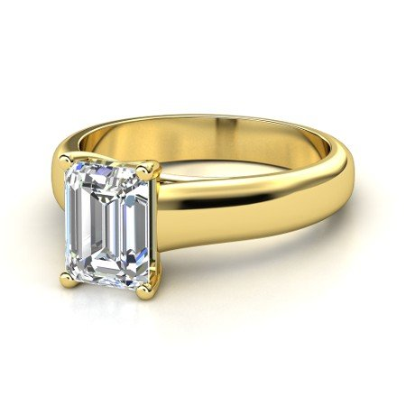 18K Yellow Gold Solitaire Diamond Engagement Ring Emerald Cut ( H Color Vs1 Clarity 0.54 Ctw) - Size 3.5