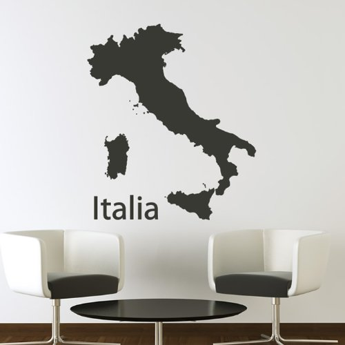 Italia Wall Sticker Maps Adesivo Art disponibile in 5 dimensioni e 25 colori Extra Grande Verde muschio