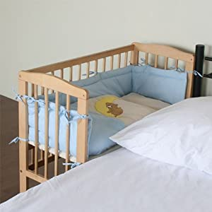 Bedside Cot Co-Sleeper Height adjustable blue