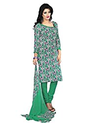 Fashion Queen Presents Purple & Green Colored Unstitched Dress Material