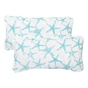 Mozaic Sabrina Corded Indoor/Outdoor Lumbar Pillows, 12 by 24-Inch, Aqua Starfish, Set of 2