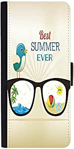 Snoogg Summer Vector Illustration With Glasses Bird Rays Ball Water Palm Tree Sun Designer Protective Phone Flip Case Cover For Panasonic P55 Novo