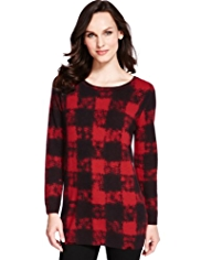 M&S Collection Pure Cashmere Checked Knitted Tunic
