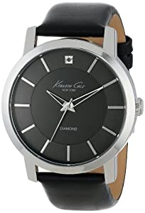 """Kenneth Cole New York Men's KC1986 """"Rock Out"""" Stainless Steel Diamond-Accented Watch with Black Leather Band"""