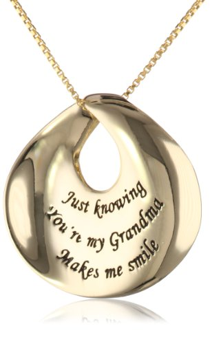 """Gold over Sterling Silver """"Just Knowing You're My Grandma Makes Me Smile"""" Contemporary Circle Pendant Necklace , 18″"""