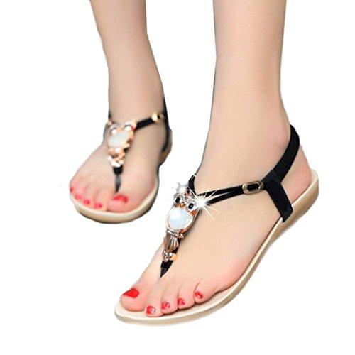 Franterd Women Beach Shoes Rhinestone Owl Sandals Clip Toe Sandals (39/8)