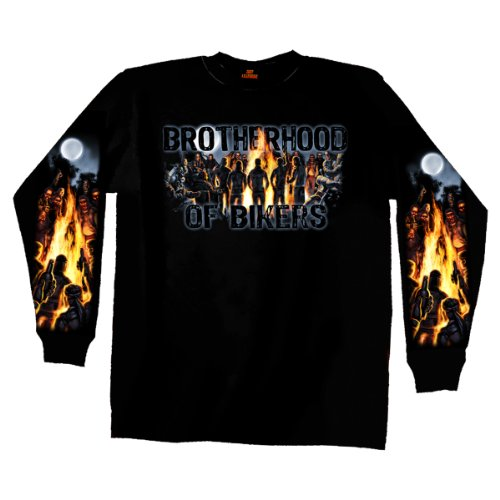 Hot Leathers Black XX-Large Campfire Double Sided Long Sleeve T-Shirt
