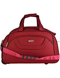 Polyester Red Travels Duffle Strolly Bags 49 Cms Red Softsided Carry-On Strolly Bags With Wheels For Travel Duffel...