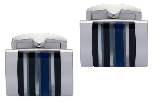 The Cufflink Factory Genuine Onyx Hematite Mother of Pearl and Blue Crystal Cufflinks