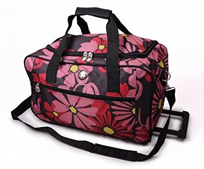 "Ladies Floral Design 20"" Wheeled Pink Flower Holdall Weekend Bag, Maternity Bag, Baby Bag, Flight Cabin Bag, School College Holdall, Sport Gym Bag,"