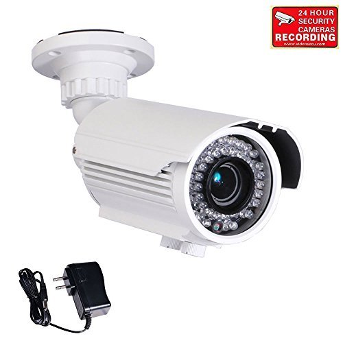 VideoSecu 700TVL High Resolution Built-in 1/3'' Sony Effio CCD Infrared Bullet Security Camera Day Night Outdoor 42 IR LEDs 4-9mm Varifocal Lens Camera for CCTV DVR Home with Bonus Power Supply BUR