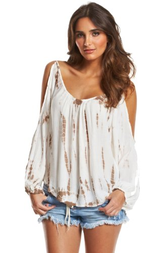 Elan Tan Tie Dye Cold Shoulder Top