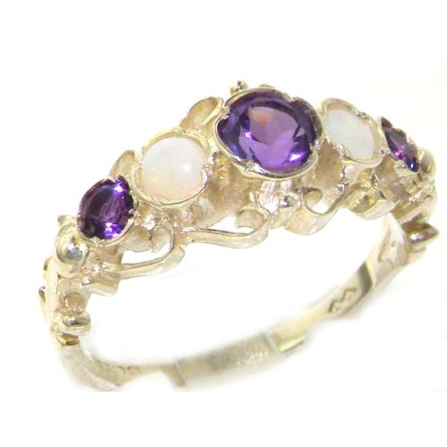 Solid Sterling Silver Genuine Natural Amethyst & Opal Ring of English Georgian Design - Size 12 - Finger Sizes 5 to 12 Available - Suitable as an Anniversary ring, Engagement ring, Eternity ring, or Promise ring