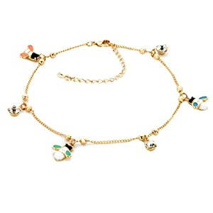 Pugster 18K Gold Plated Dangle Ankle Bracelet Anklet Lobster Clasp Made with Swarovski Elements
