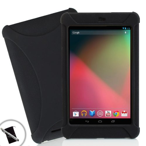Sleek Impact-Resistant Protective Silicone Skin Case with Stylus and Accessory Bag for Google Nexus 7 Android Tablets - 8GB , 16GB , 32GB