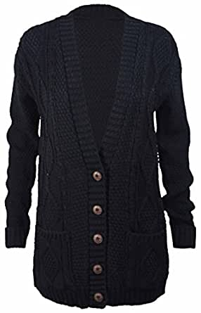New Womens Everyday Long Sleeve Button Top Ladies Chunky Aran Cable Knit Grandad Cardigan Charcoal Size 8 - 10