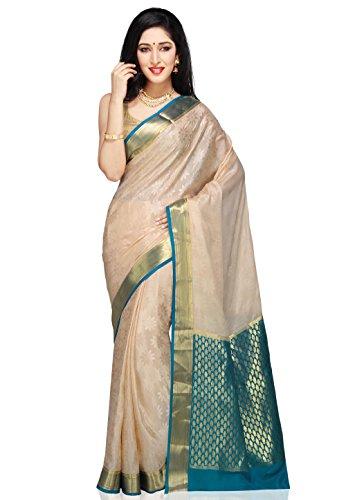 Utsav Fashion Women's Light Beige Pure Mysore Silk Saree with Blouse