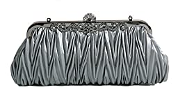 Pulama®Evening Handbag Classic Satin Detachable Strap Grey Clutch