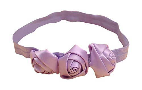 PinkXenia Light Purple 3 Rosset Flower Elastic Newborn BabyGirl Soft Headband