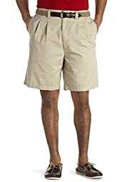 Harbor Bay Big & Tall Waist-Relaxer Pleated Twill Shorts (50 Reg, Khaki)