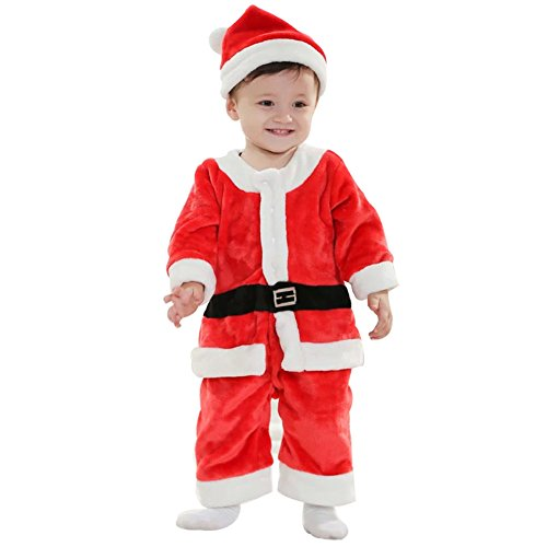 F&C Christmas Baby Boys Santa Claus Suit Costume Cosplay Santa Hat