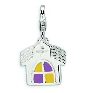 Sterling Silver 3-D Enameled Church with Lobster Clasp Charm