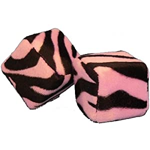 Zebra Safari Animal Print Car Mirror Fuzzy Dice - Black &amp; Pink - Pair