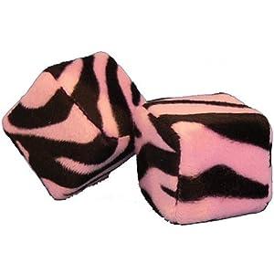Zebra Safari Animal Print Car Mirror Fuzzy Dice - Black & Pink - Pair