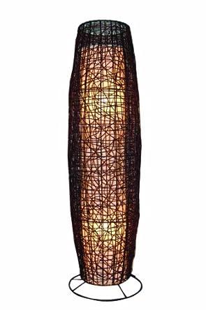 rattan stehleuchte stehlampe 2 flammig dunkelbraun stoffschirm ca 105 cm beleuchtung. Black Bedroom Furniture Sets. Home Design Ideas